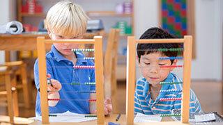 Michael and Wilson bead frame, Forest Bluff Montessori School, Lake Bluff, IL