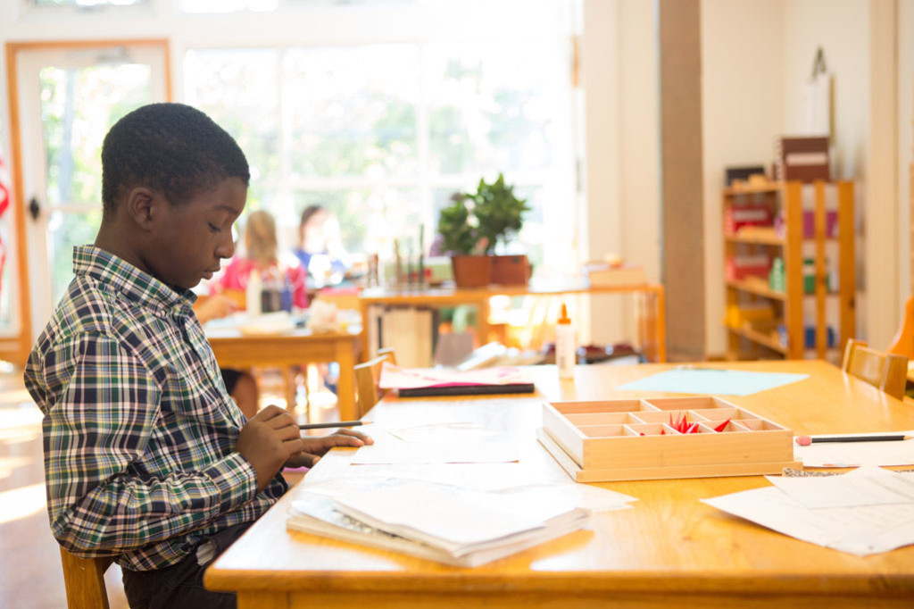 A boy in a Montessori elementary classroom uses Montessori materials for his math work.