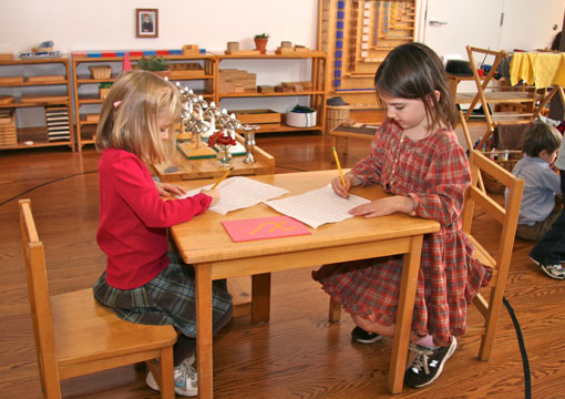 Two Montessori primary level students work at a desk.