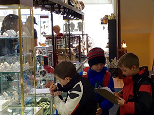 Elementary students engage in research on crystals during an educational excursion