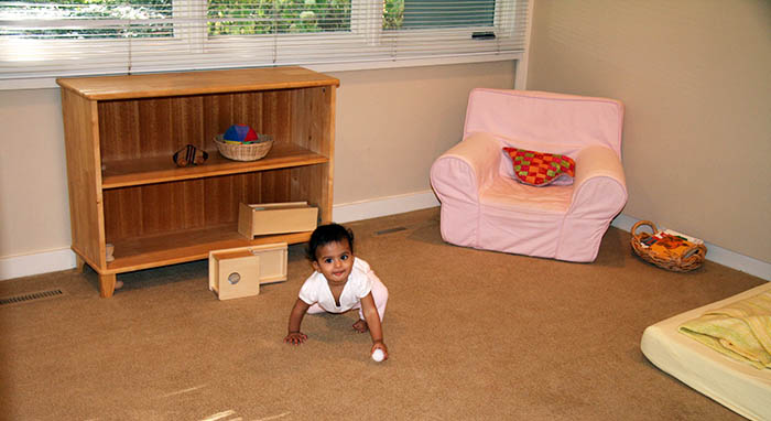 By creating space for children, parents can leave their baby in her room to explore