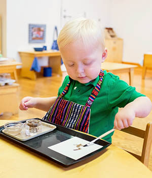 A toddler plays with a paintbrush.