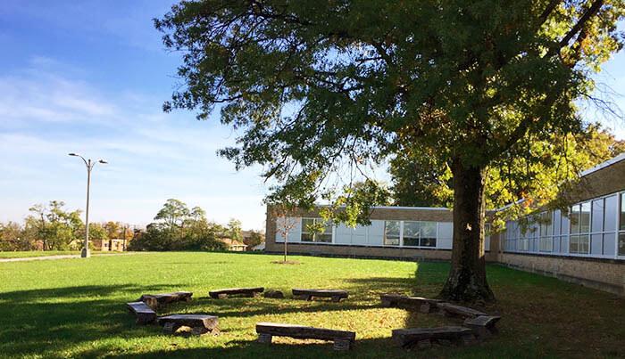 An exterior photo of Gamble Montessori High School, one of the Cincinnati public Montessori schools