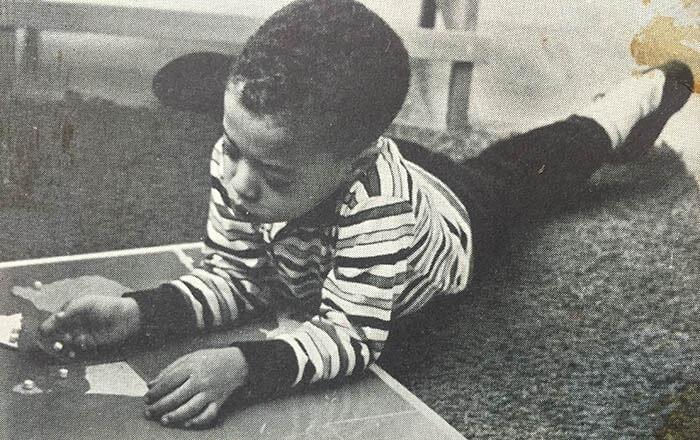 A photo from the 1960s of a child in the Montessori Head Start program in Cincinnati