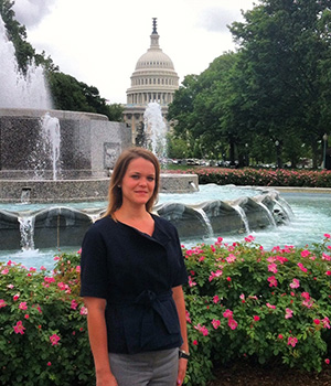 A Montessori alumna working in Washington D.C. enjoys the view of the United States Capitol Building.