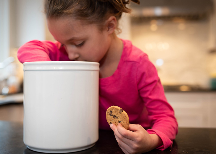 A child steals a cookie from a cookie jar when no one is watching.