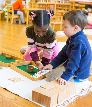 Students working together in a Montessori Primary classroom use hands-on math materials.
