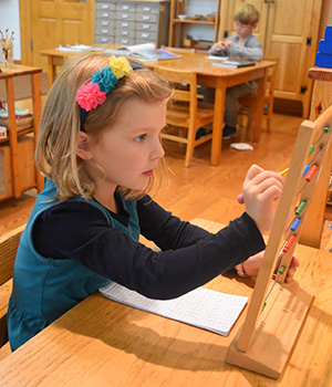 A child in a Montessori Primary classroom concentrates intently on her math work with a large bead frame