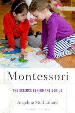The book cover of Montessori: The Science Behind the Genius features two students working on a puzzle map