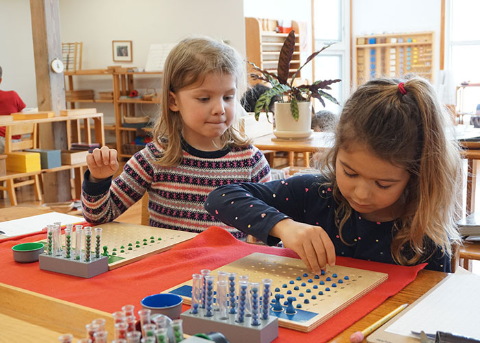 Two students work with the racks and tubes Montessori materiall to solve a math problem