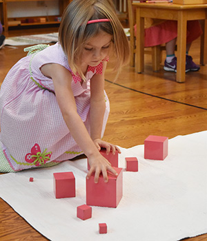 A child in a Montessori Primary classroom works with the cubes of the Pink Tower