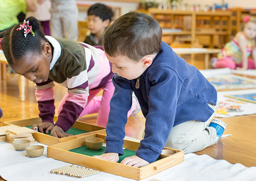 Two children in a Montessori Primary classroom work together on addition