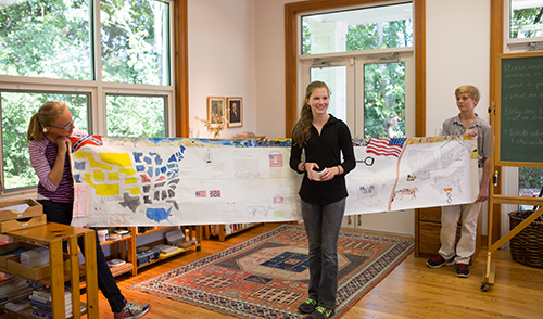 Students in a Montessori Secondary classroom present their research on the U.S. Civil War
