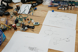 The schematic an materials for an electric car designed by Montessori students