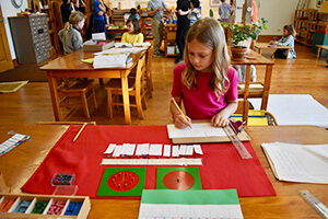 A child in a Montessori Elementary classroom works with geometry materials