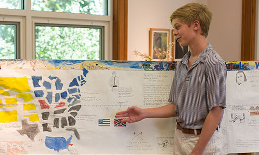 A Montessori student at the Secondary Level presents research on the Civil War